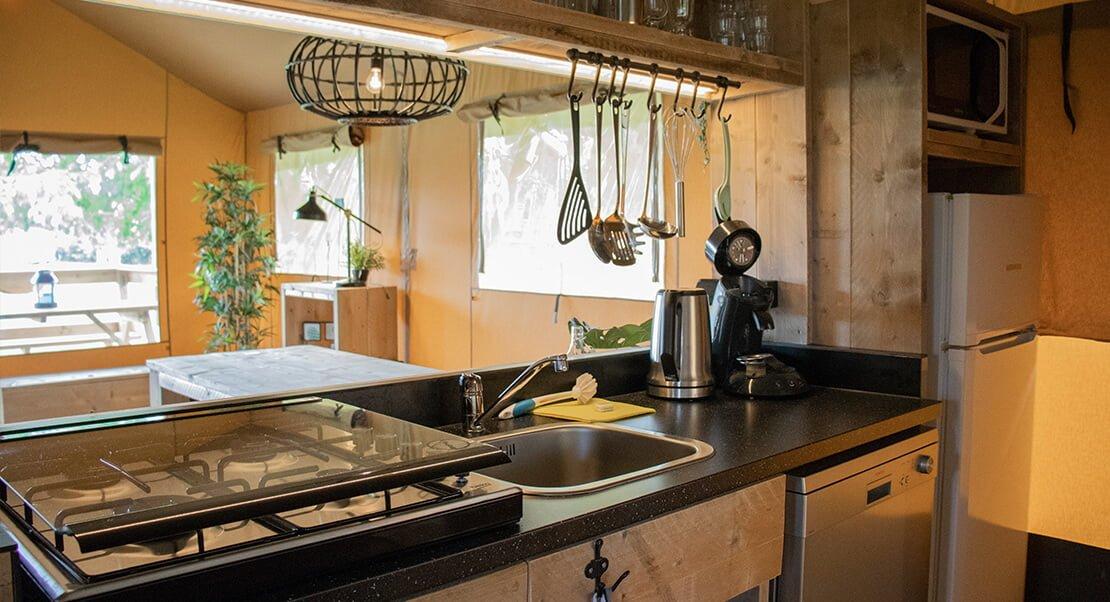 Kitchen in safari tent